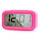 "Portable Automatic Photosensitive 4.5"" LCD Alarm Clock w/ Temperature / Calendar Display - Dark Pink"