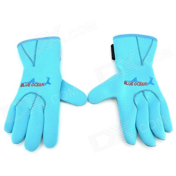 BlueOcean 122 Winter Swimming Neoprene Scratch-proof Warm Gloves - Blackish Blue (Pair)