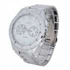 Stylish Men's Analog Quartz Wristwatch w/ Stainless Steel Band - White + Metallic Silver (1 x 626)