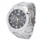 Fashion Water Resistant Analog Quartz Wrist Watch for Men - Black + Metallic Silver