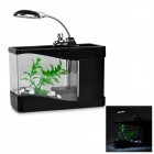 Lileng 918 1.5W Mini USB Pet Fish Tank / Aquarium w/ 13-LED Table Lamp / Pen Holder - Black