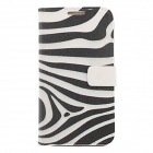 Kinston Zebra Stripe Pattern PU Leather Case Cover for Samsung Galaxy Note 2 N7100 - White + Black