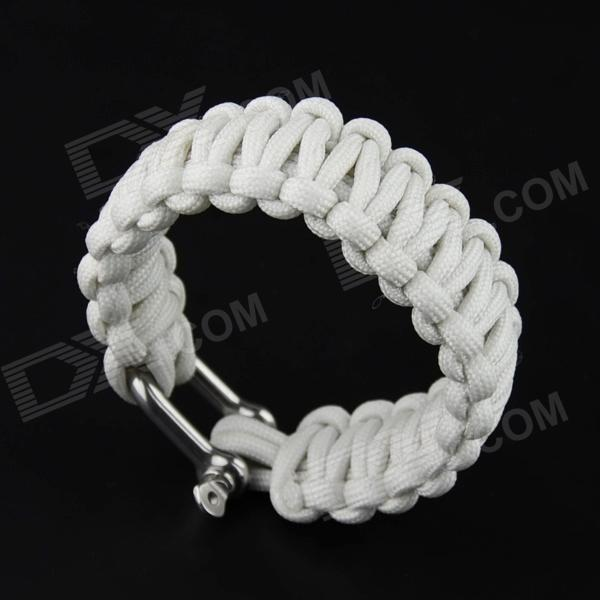 OUMILY 9-Core Survival Parachute Rope + Survival Bracelet w/ Stainless Steel Buckle - White (10M) military nylon stainless steel survival paracord bracelet khaki