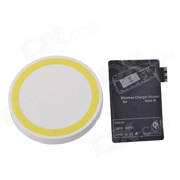 Wireless Charger Pad + Wireless charger Receiver for Samsung Galaxy Note 3 N9006 - White + Yellow fulanka wireless charging back cover wireless receiver for samsung galaxy note 2 n7100 white