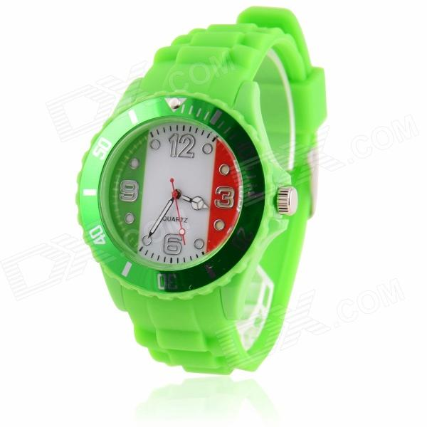 Men's 2014 Football Cup Italian Flag Pattern Jelly Band Quartz Wrist Watch