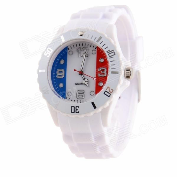 Men's 2014 Football Cup French Flag Pattern Jelly Band Quartz Wrist Watch
