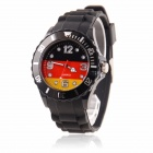 Men's 2014 Football Cup Germany Flag Pattern Jelly Band Quartz Wrist Watch