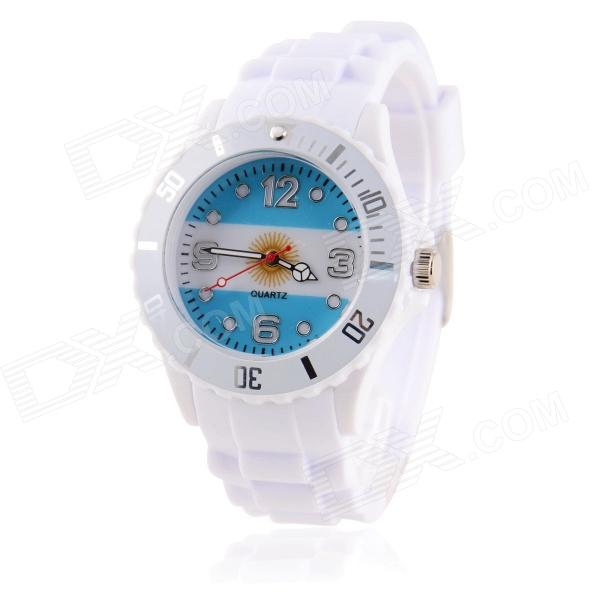 Men's 2014 Football Cup Argentinian Flag Pattern Jelly Band Quartz Wrist Watch
