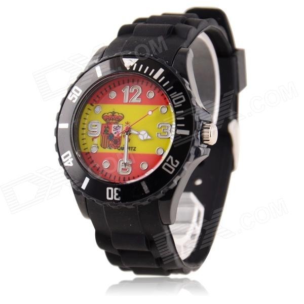 Men's 2014 Football Cup Spainish Flag Pattern Jelly Band Quartz Wrist Watch