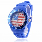Men's 2014 Football Cup American Flag Pattern Jelly Band Quartz Wrist Watch