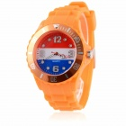 Men's 2014 Football Cup Netherlandish Flag Pattern Jelly Band Quartz Wrist Watch