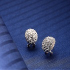 EQute Cute Shiny White Rhinestones Oval Shape Stud Earrings for Women - White + Silver