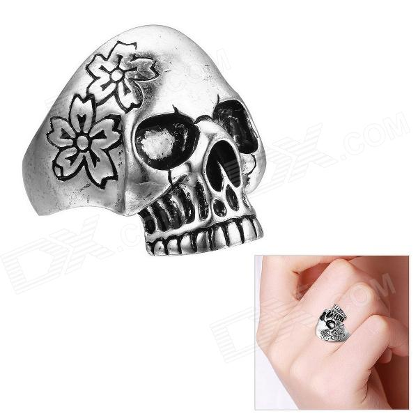EQute Cool Skull Head Style Finger Ring for Women - Antique Silver (Size 8) maoxin cute cat head finger grip metal ring kickstand for smartphones blue cats
