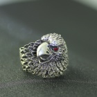 EQute Fashion Punk Eagle Style Red Eye Finger Ring - Antique Silver (Size 8)