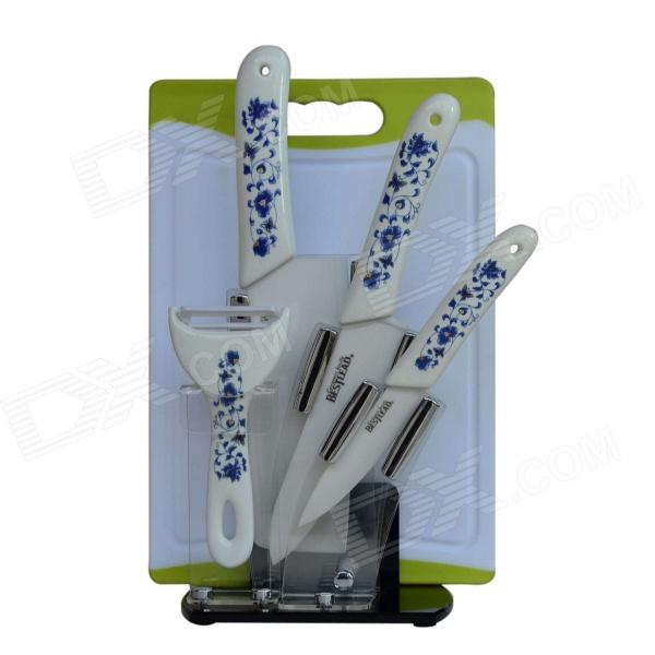 BESTLEAD 4 Ceramics knife + 6.5 Kitchen Knife + Peeler + Board + Holder Set - White + Deep Blue bestlead 4 6 ceramics knife peeler set blue white