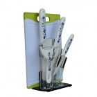 "BESTLEAD 4"" Ceramics knife + 6.5"" Kitchen Knife + Peeler + Board + Holder Set - White + Deep Blue"