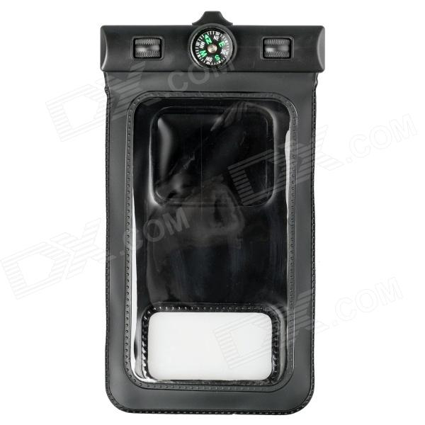 IPX8 Professional Protective Waterproof Bag w/ Armband / Compass for Samsung Galaxy S5 - Black