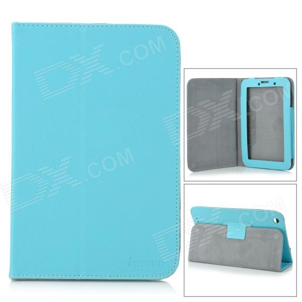Lychee Pattern Protective PU Case w/ Stand for 7 Lenovo A3000 - Light Blue lychee pattern protective pu case w stand for lenovo miix2 8 dark blue