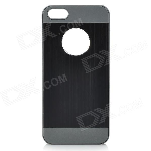 Cqda Protective Aluminum Alloy + PC Back Case for IPHONE 5 / 5S - Black + Dark Grey