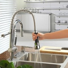 High Quality Fashion Chrome Finish Solid Brass Spring Pull Out Kitchen Faucet - Silver