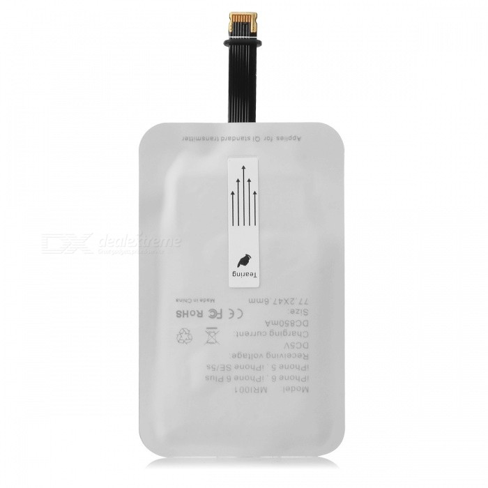 Wireless Charging Receiver for IPHONE 5 / 5S / 5C / IPHONE 6 - WhiteWireless Chargers<br>Form ColorWhiteBrandN/AModelI-5MaterialPlasticQuantity1 DX.PCM.Model.AttributeModel.UnitCompatible ModelsIPHONE 5 / 5S / 5C / 6Input Voltage5 DX.PCM.Model.AttributeModel.UnitOutput Current700 DX.PCM.Model.AttributeModel.UnitOutput Voltage5 DX.PCM.Model.AttributeModel.UnitPower AdapterOthersOther FeaturesOutput current: 900mAExecutive StandardOthers,N/AShade Of ColorWhiteTypeOthers,Wireless charging receiverInput5VOutput interface, output current, output voltage5VLED IndicatorNoPacking List1 x Charging receiver<br>