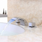 Separated Type LED RGB Color Changing Waterfall Bathroom Sink Faucet - Silver