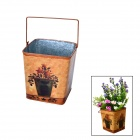 Squared Countryside Iron Art Storage Barrel / Flower Implement - Brown + Green
