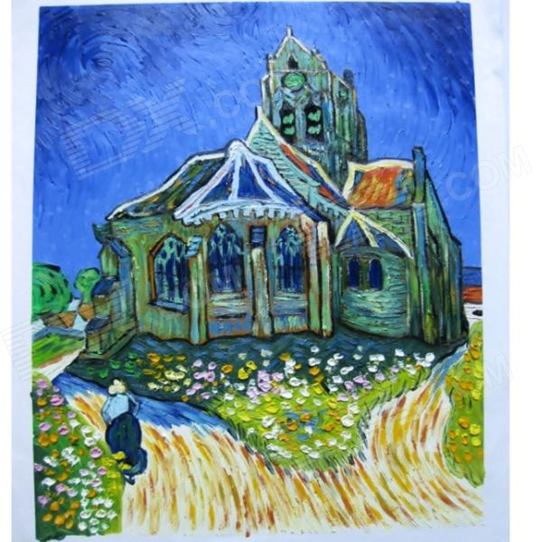 canvas-hand-painted-the-church-at-auvers-oil-painting-multicolored
