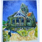 "Canvas Hand-painted ""The Church at Auvers"" Oil Painting - Multicolored"