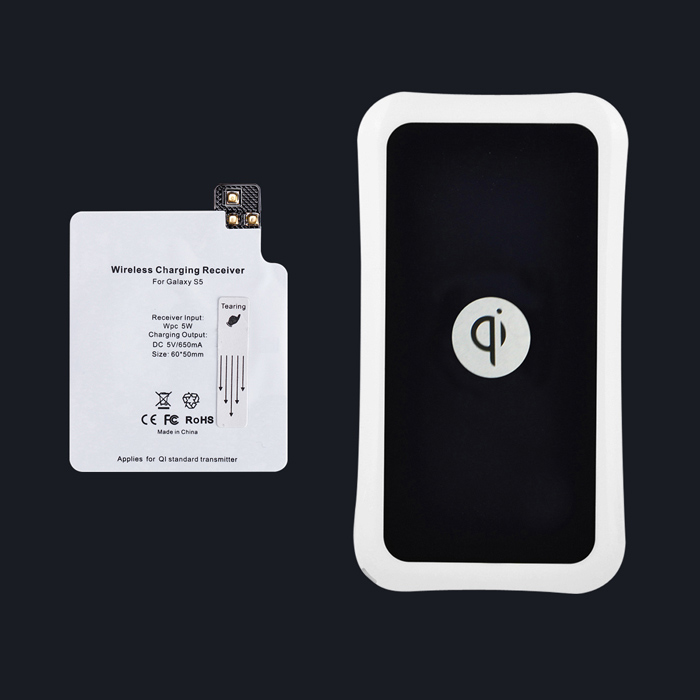 Itian QI Standard Mobile Wireless Power Charger + Samsung Galaxy S5 Wireless Charger Receiver -Black itian k8 qi standard wireless charger receiving module for samsung galaxy s3 i9300 white