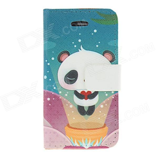Kinston Lovely Panda Pattern Protective PU Leather Case Cover for IPHONE 4 / 4S - Multicolored kinston kst91820 petunia pattern pu leather plastic cover for iphone 6 4 7 pink multicolored