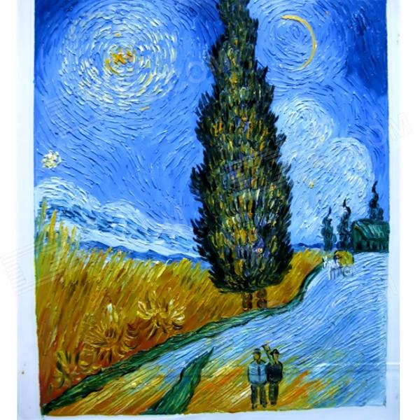 canvas-hand-painted-road-with-cypress-star-oil-painting-multicolored
