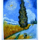 "Canvas Hand-painted ""Road with Cypress and Star"" Oil Painting - Multicolored"