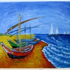 "Canvas Hand-painted ""Fishing Boats on the Beach at St. Mary's"" Oil Painting (69 x 58)"