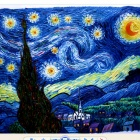 "Canvas Hand-painted ""The Starry Night"" Oil Painting (69 x 58)"