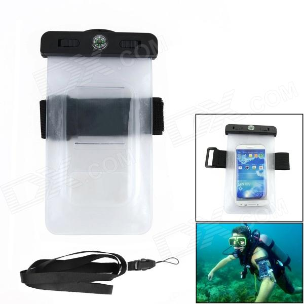 Universal Outdoor Waterproof PVC Bag w/ Compass + Arm Band for IPHONE / Samsung - Black+ Transparent universal waterproof bag protective mobile phone bag w arm band strap orange black