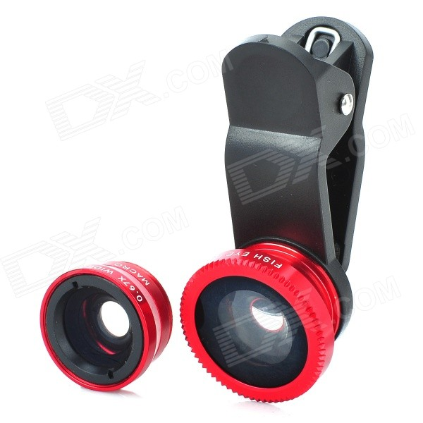 RQ06 Universal Clip Lens Wide Angle + Macro + Fisheye Lens Set - Black + Red