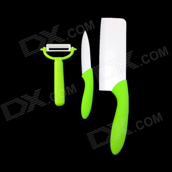 "6.5 "" Keraaminen Kitchen Knife + 4 "" Hedelmä Knife + Peeler Set - Grass Green + Valkoinen"