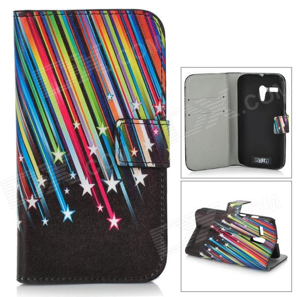 IKKI Meteor Shower Pattern Flip-open PU Case w/ Holder + Card Slot for Motorola MOTO G / DVX - Black ikki sweet cartoon pattern flip open pu case w holder card slot for samsung galaxy s3 mini i8190