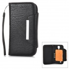 Protective Flip-open PU Case w/ Hand Strap + Card Slot for Samsung S5 - Black