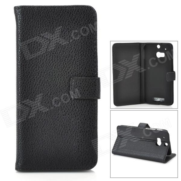 .IKKI Classic Flip-open Split Leather Case w/ Holder + Card Slot for HTC ONE2 / M8 - Black cute cartoon pattern pu tpu flip open case w stand card slots for htc one2 m8 black grey