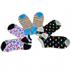 Patterned Cute Casual Combed Cotton Socks - Greyish White + Dark Blue + Multi-Colored (3 Pairs)