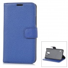 Stylish Flip-open PU Case w/ Holder + Card Slot for Samsung Galaxy S5 - Blue