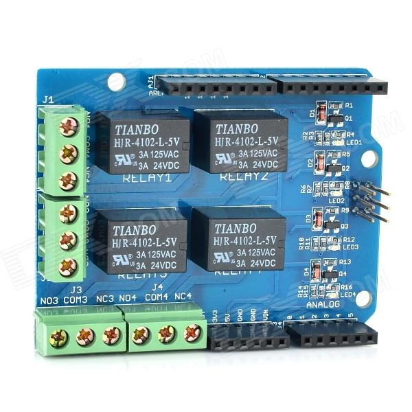Relay Shield v1.0 5V 4-Channel Relay Module for Arduino (Works with official Arduino Boards) каталог panasonic