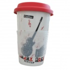 DEDO MG-396 Originality Ceramic Coffee Mug with Lid - White + Red (400mL)