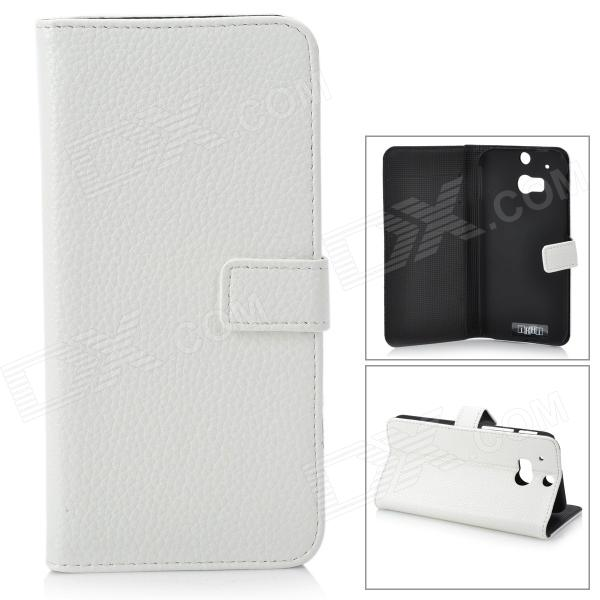 IKKI Classic Flip-open Split Leather Case w/ Holder + Card Slot for HTC ONE2 / M8 - White cute cartoon pattern pu tpu flip open case w stand card slots for htc one2 m8 black grey