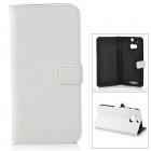 IKKI Classic Flip-open Split Leather Case w/ Holder + Card Slot for HTC ONE2 / M8 - White
