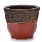 Fleshy Coarse Pottery Flowerpot Bust Glaze w/ Bottom Hole - Red