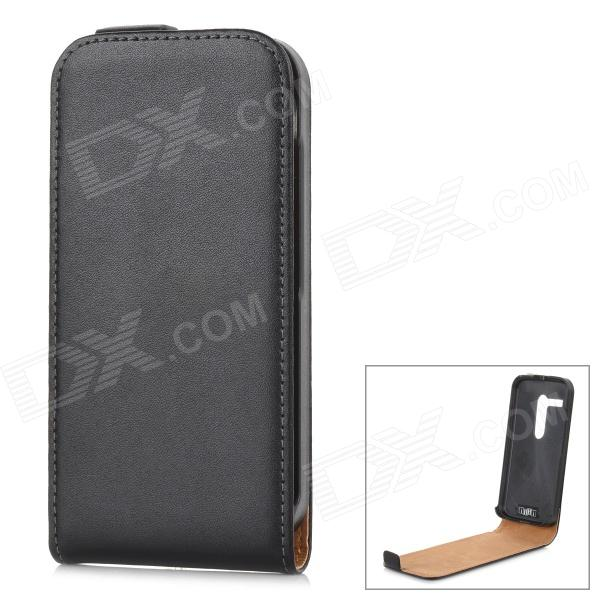 IKKI klassieke tik-open Split Leather Case for Motorola MOTO G / PowerPoint - zwart