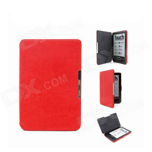 Protective PU Leather Flip Magnetic Slim Case Cover for Pocketbook Touch 622 / 623 - Red high quality faux leather stand cover case for pocketbook touch 622 623 624 626 ebook ereader